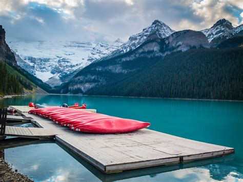 Canoes Grande Prairie by Canoes At Lake Louise Alberta Travel Photography