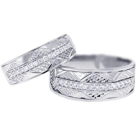 diamond vintage wedding bands set     gold ct