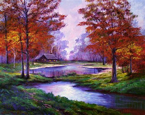 lakeside cabin painting  david lloyd glover