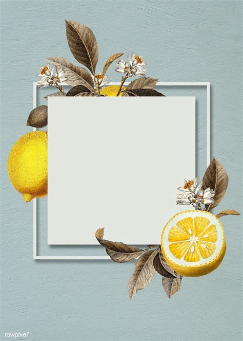 premium illustration  blank tropical lemon card