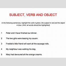 English Subject Verb Object One Page Presentation Plus Worksheet With Answers By
