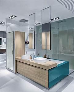 Ceiling mounted minimalist mirrors modern bathroom for Ceiling mounted bathroom mirrors