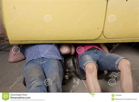 Vintage Girl With Tools Under Car Royalty-free Stock Photo