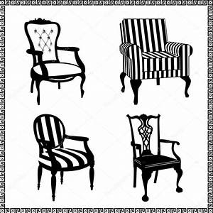 Set of antique chairs silhouettes — Stock Vector ...