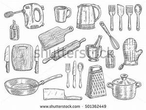 Kitchen Utensils Appliances Isolated Sketches Cooking ...