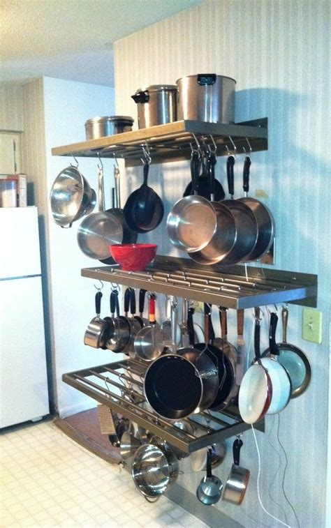 9 best images about pot pan lid rack ideas on wall mount on the shelf and hooks