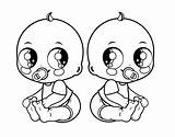 Twins Coloring Twin Babies Template sketch template