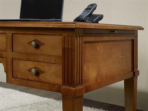 bureau bois massif bureau ministre 5 tiroirs en merisier massif de style