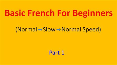 Basic French For Beginners (part 1) - YouTube