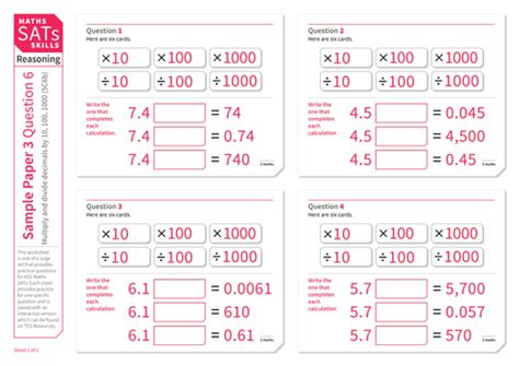 multiply and divide decimals by 10 100 and 1 000 ks2 maths sats reasoning practice