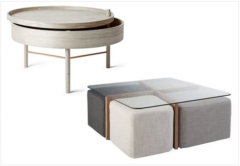 table basse ronde avec poufs integres meuble de salon contemporain