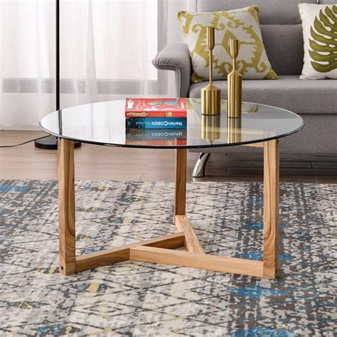 Each table can be used separately or together to create the space you need for your laptop, drink, and remote controls. Round glass coffee table Modern cocktail table Living room Simple assembly sofa table with ...