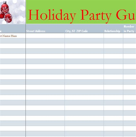 holiday party guest list  excel templates