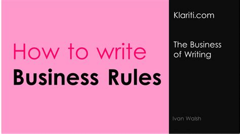 Business Rules V The Rules Of Business