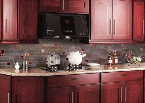 cherry kitchen cabinets with granite countertops black