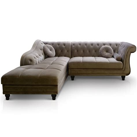 canapé style chesterfield canapé d 39 angle gauche empire velours taupe style