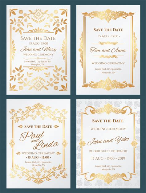 Save the date luxury wedding invitation cards with gold
