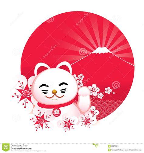 sakura blossom  japanese lucky cat  stock vector