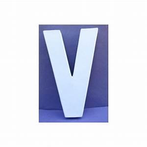 Lettre En Carton À Peindre : lettre 3d v en carton 20cm maison pratic boutique pour vos loisirs creatifs et votre deco ~ Nature-et-papiers.com Idées de Décoration