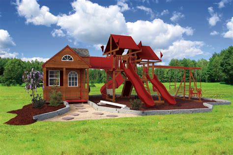 sk  cottage escape playhouse swing set combo swing