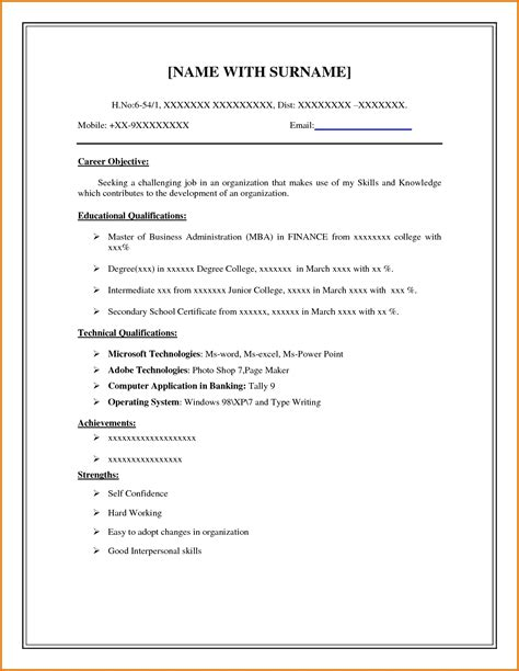 exles of resumes resume format for teachers in