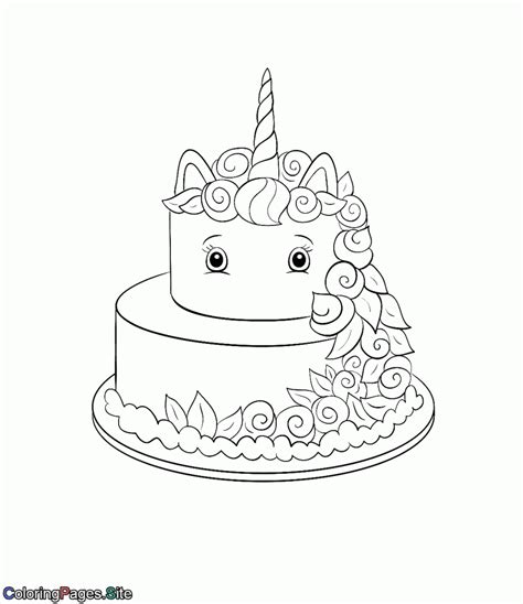 unicorn cake coloring page
