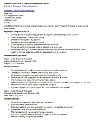 Physiotherapist Resume Pdf by Sle Physical Therapist Resume 8 Exles In Word Pdf
