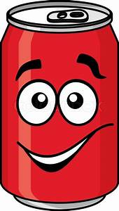 Red cartoon soda or soft drink can with a smiling face ...