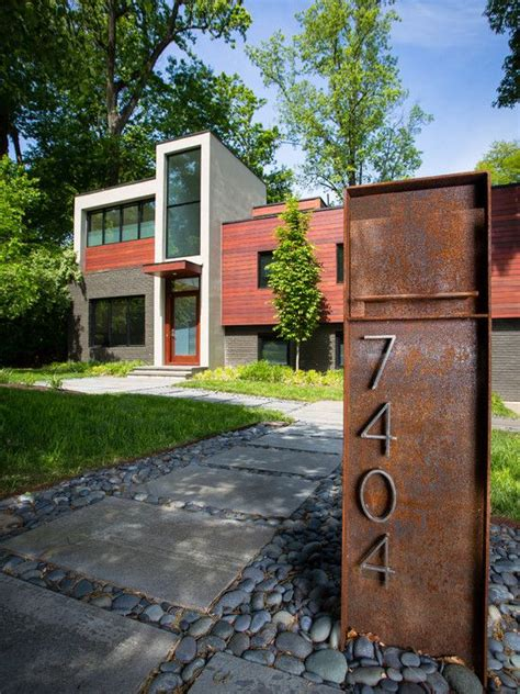 mailbox designs industrial modern rusted steel modern mailboxes pinterest wall accents concrete path and