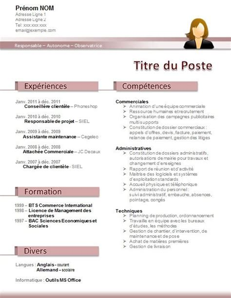 modele cv secretaire administrative divers motivation