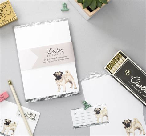pug letter writing set  sirocco design