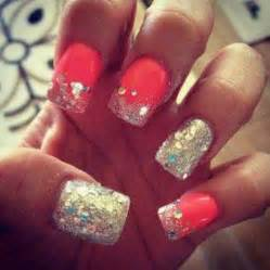 Silver and pink glittery nails nail designs
