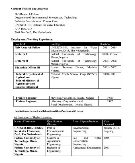 Sample Resume For Agriculture Graduates