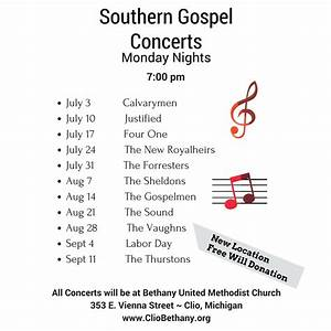 Summer Gospel Concerts ~ Monday Nights | Bethany United ...