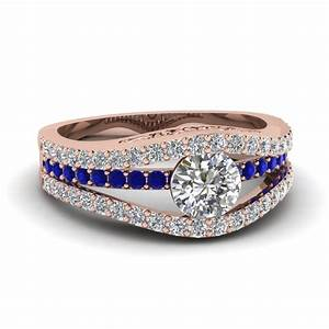 tension set crossover diamond engagement ring with With wedding rings with blue stones
