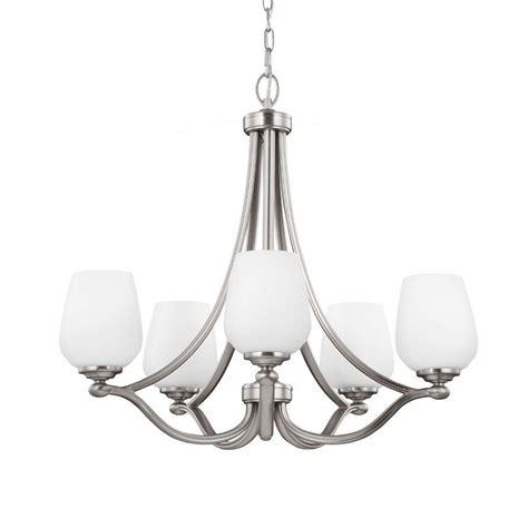 single chandelier feiss vintner 5 light satin nickel single tier chandelier