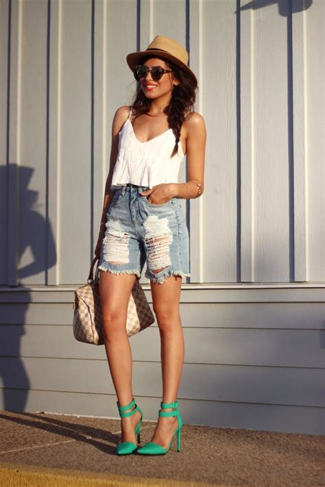 Ripped Shorts and Green Heels - Sazan