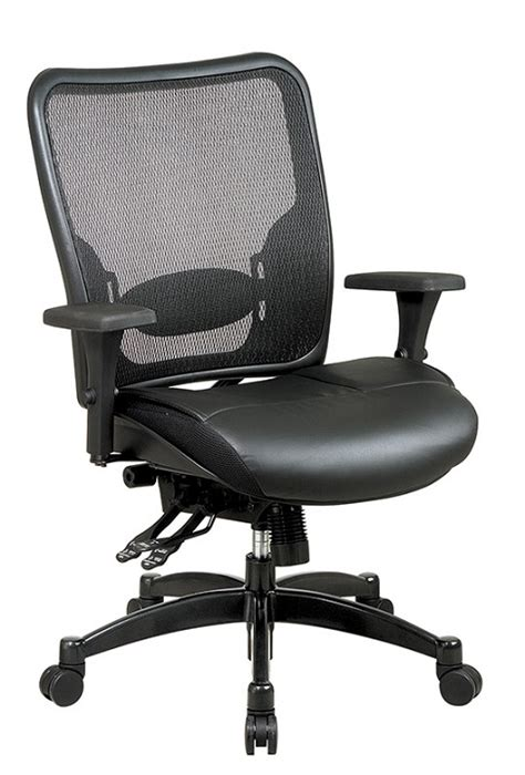 office breathable mesh back chair w leather seat
