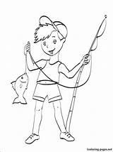 Fishing Coloring Rod Boy Pole Printable Getcolorings Season sketch template