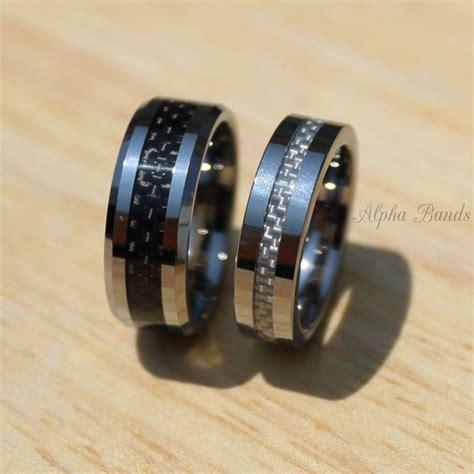 tungsten wedding band set black white carbon fiber
