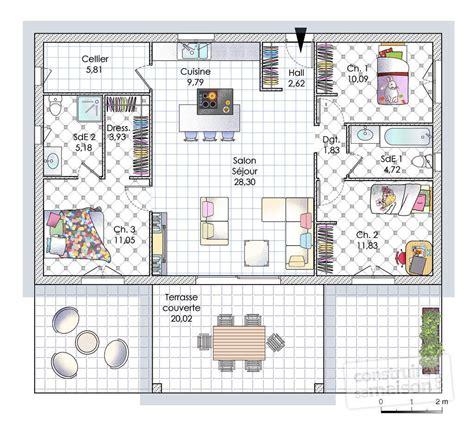 plan de maison plain pied 2 chambres et garage maison de plain pied en corse dé du plan de maison