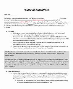 Recording contract template record label agreements for Executive producer agreement template