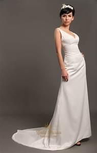 ivory satin v neck sleeveless sheath wedding dresses with With v neck sheath wedding dress