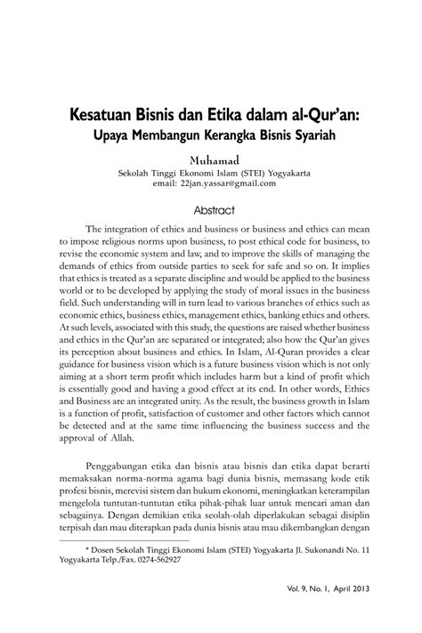 Contoh Jurnal Etika Bisnis Islam - Simak Gambar Berikut