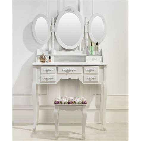 meuble coiffeuse maquillage coiffeuse table de maquillage 3 miroirs et 7 tiroirs