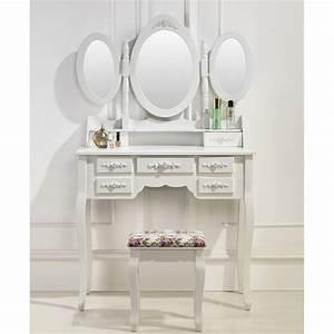 Miroir De Coiffeuse : coiffeuse table de maquillage 3 miroirs et 7 tiroirs ~ Teatrodelosmanantiales.com Idées de Décoration