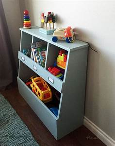 Ana White Toy Storage Bin Box with Cubby Shelves - DIY