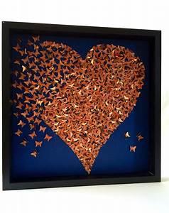 D butterflies heart wall art decor rose gold by