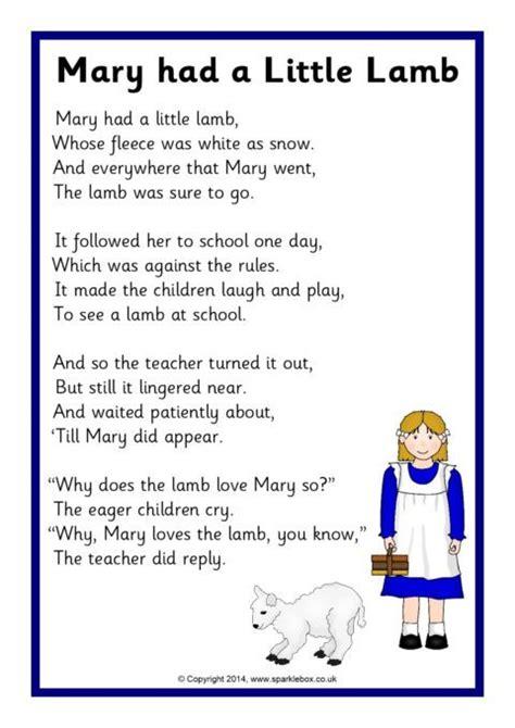 mary    lamb rhyme sheet sb sparklebox