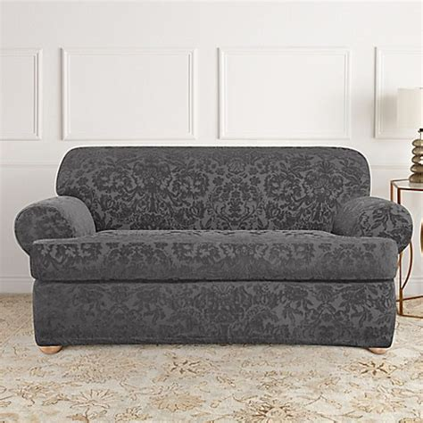 Gray Loveseat Slipcover by Sure Fit 174 Stretch Jacquard T Cushion 2 Loveseat